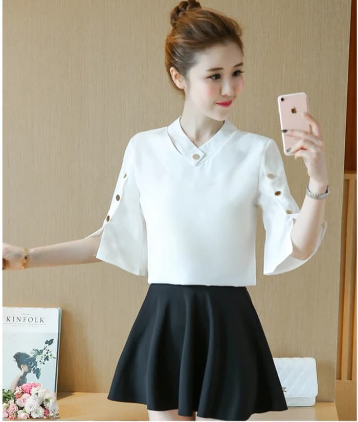 Blouse Evelyn button white RO